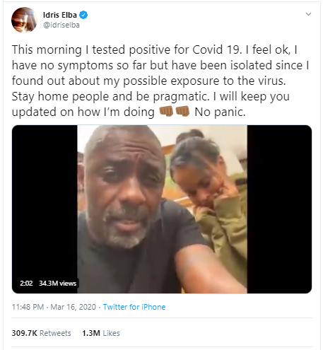 Idris Elba Corona Positive News
